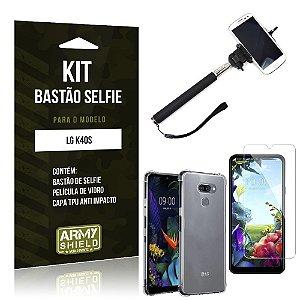 Kit Bastão de Selfie LG K40s Bastão + Capinha Anti Impacto + Película de Vidro - Armyshield