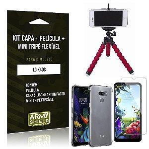 Kit Mini Tripé Flexível LG K40s Tripé + Capinha Anti Impacto + Película de Vidro - Armyshield