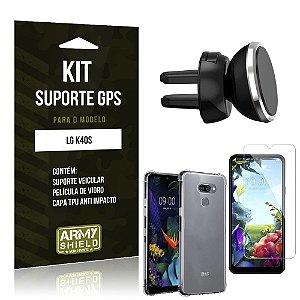 Kit Suporte Veicular Magnético LG K40s Suporte +Capinha Anti Impacto +Película Vidro - Armyshield