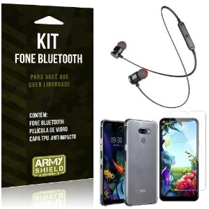 Kit Fone Bluetooth Sport 901 LG K40s Fone + Capa Anti Impacto + Película Vidro - Armyshield