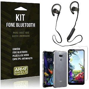Kit Fone Bluetooth Sport 907 LG K40s Fone + Capa Anti Impacto + Película Vidro - Armyshield