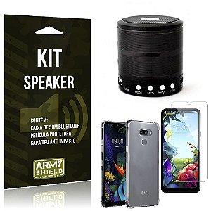 Kit Mini Speaker LG K40s Caixa de Som Bluetooth + Capa Anti Impacto + Película - Armyshield