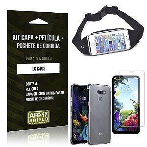 Kit Pochete LG K40s Pochete + Capinha Anti Impacto + Película de Vidro - Armyshield