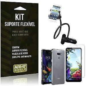 Kit Suporte Flexível LG K40s Suporte + Capinha Anti Impacto + Película de Vidro - Armyshield