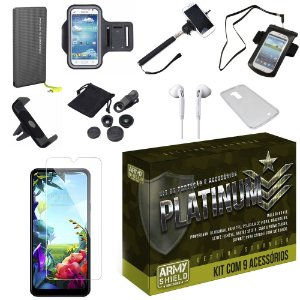 Kit Platinum LG K40s com 9 Acessórios - Armyshield
