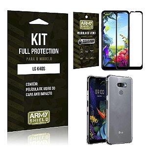 Kit Full Protection LG K40s Película de Vidro 3D + Capa Anti Impacto - Armyshield