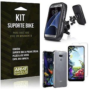 Kit Suporte Celular Bike e Moto LG K40s + Capa Silicone + Película Vidro - Armyshield