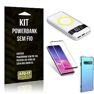 Kit Powerbank Sem Fio 10.000mAh Galaxy S10 + Capa Anti Impacto + Película Vidro 3D - Armyshield