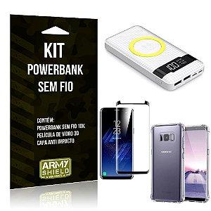 Kit Powerbank Sem Fio 10.000mAh Galaxy S8 Plus + Capa Anti Impacto + Película Vidro 3D - Armyshield