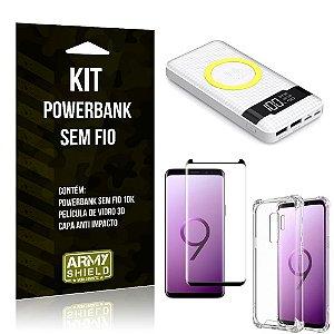 Kit Powerbank Sem Fio 10.000mAh Galaxy S9 Plus + Capa Anti Impacto + Película Vidro 3D - Armyshield