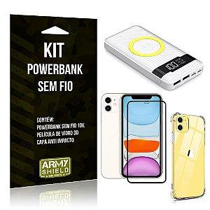 Kit Powerbank Sem Fio 10.000mAh iPhone 11 + Capa Anti Impacto + Película Vidro 3D - Armyshield