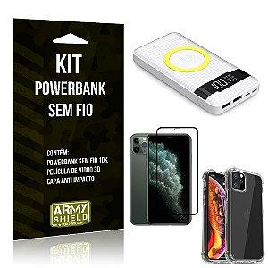 Kit Powerbank Sem Fio 10.000mAh iPhone 11 Pro Max +Capa Anti Impacto +Película Vidro 3D - Armyshield
