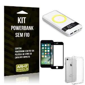 Kit Powerbank Sem Fio 10.000mAh iPhone 8 + Capa Anti Impacto + Película Vidro 3D - Armyshield