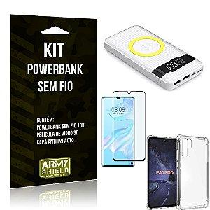 Kit Powerbank Sem Fio 10.000mAh Huawei P30 Pro + Capa Anti Impacto + Película Vidro 3D - Armyshield