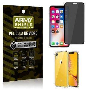 Kit Película de Vidro 3D Anti Espião Curioso iPhone XR + Capa Anti Impacto - Armyshield