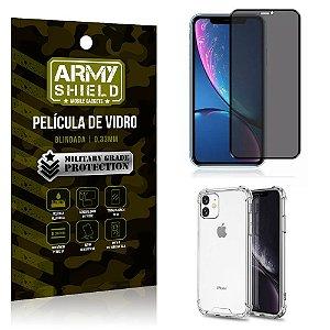 Kit Película de Vidro 3D Anti Espião Curioso iPhone 11 + Capa Anti Impacto - Armyshield