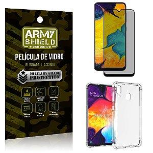 Kit Película de Vidro 3D Anti Espião Curioso Galaxy A30 + Capa Anti Impacto - Armyshield