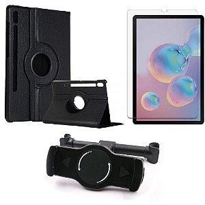 Kit Suporte Tablet Carro Galaxy Tab S6 10.5' T865 + Película Vidro +Capa Giratória - Armyshield