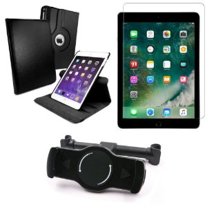 Kit Suporte Tablet Carro iPad Air 2019 10.5 + Película Vidro +Capa Giratória - Armyshield