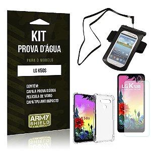 Kit Prova D'água LG K50s Capinha Prova D'água + Capinha Anti Impacto + Película - Armyshield