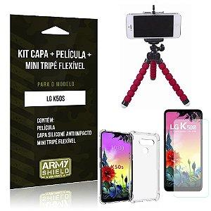 Kit Mini Tripé Flexível LG K50s Tripé + Capinha Anti Impacto + Película de Vidro - Armyshield