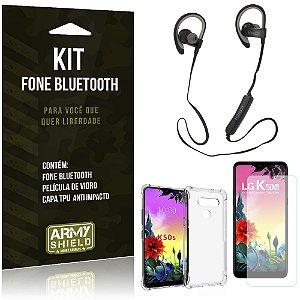 Kit Fone Bluetooth Sport 907 LG K50s Fone + Capa Anti Impacto + Película Vidro - Armyshield