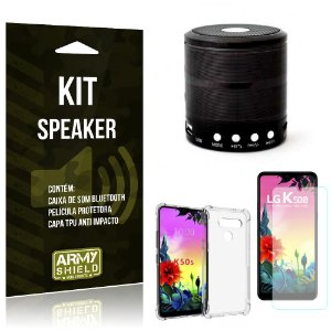 Kit Mini Speaker LG K50s Caixa de Som Bluetooth + Capa Anti Impacto + Película - Armyshield