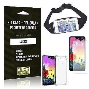 Kit Pochete LG K50s Pochete + Capinha Anti Impacto + Película de Vidro - Armyshield