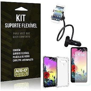 Kit Suporte Flexível LG K50s Suporte + Capinha Anti Impacto + Película de Vidro - Armyshield