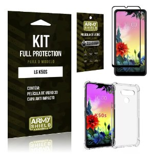 Kit Full Protection LG K50s Película de Vidro 3D + Capa Anti Impacto - Armyshield