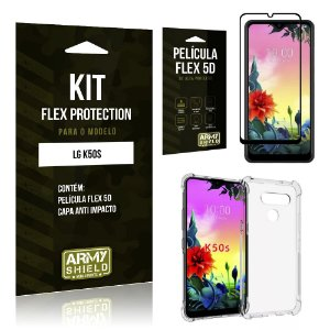 Kit Flex Protection LG K50s Capa Anti Impacto + Película Flex 5D - Armyshield