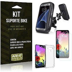 Kit Suporte Celular Bike e Moto LG K50s + Capa Silicone + Película Vidro - Armyshield