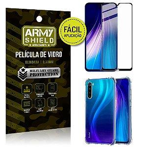 Kit Película 3D Fácil Aplicação Redmi Note 8 Película 3D + Capa Anti Impacto - Armyshield