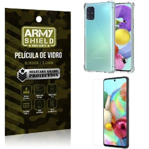Kit Anti Impacto Galaxy A51 Capinha Anti Impacto + Película de Vidro - Armyshield