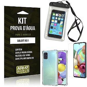 Kit Prova D'água Galaxy A51 Capinha Prova D'água + Capinha Anti Impacto + Película - Armyshield