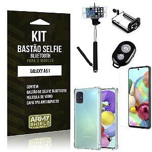 Kit Bastão de Selfie Bluetooth Galaxy A51 Bastão + Capinha Anti Impacto +Película Vidro - Armyshield