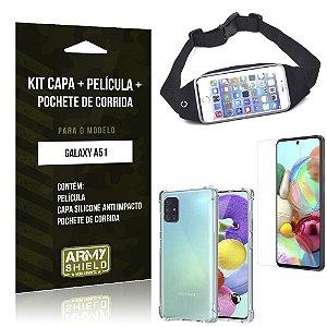 Kit Pochete Galaxy A51 Pochete + Capinha Anti Impacto + Película de Vidro - Armyshield