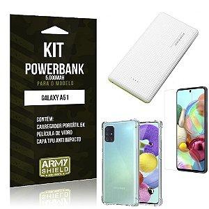 Kit Carregador Portátil 5K Tipo C Galaxy A51 + Capa Anti Impacto +Película Vidro - Armyshield