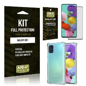 Kit Full Protection Galaxy A51 Película de Vidro 3D + Capa Anti Impacto - Armyshield