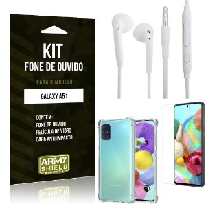 Kit Fone de Ouvido Galaxy A51 Fone + Capa Anti Impacto + Película Vidro - Armyshield