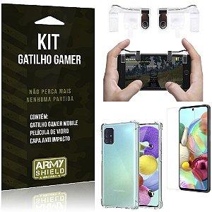 Kit Gatilho Gamer Galaxy A51 Gatilho + Capa Anti Impacto + Película Vidro - Armyshield