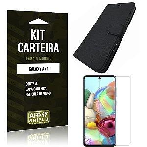 Kit Capinha Carteira Galaxy A71 Capinha Carteira + Película de Vidro - Armyshield