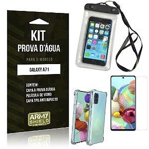 Kit Prova D'água Galaxy A71 Capinha Prova D'água + Capinha Anti Impacto + Película - Armyshield