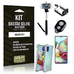 Kit Bastão de Selfie Bluetooth Galaxy A71 Bastão + Capinha Anti Impacto +Película Vidro - Armyshield