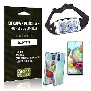 Kit Pochete Galaxy A71 Pochete + Capinha Anti Impacto + Película de Vidro - Armyshield