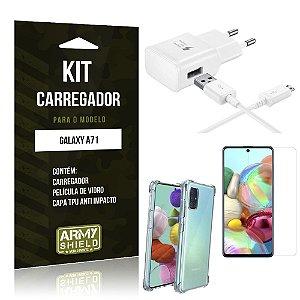 Kit Carregador Tipo C Galaxy A71 + Capinha Anti Impacto + Película de Vidro - Armyshield