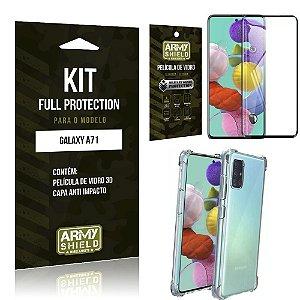 Kit Full Protection Galaxy A71 Película de Vidro 3D + Capa Anti Impacto - Armyshield