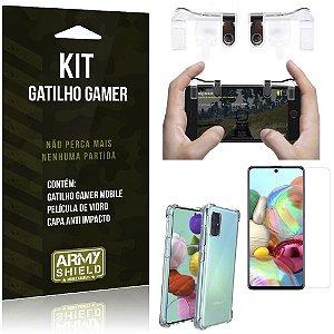 Kit Gatilho Gamer Galaxy A71 Gatilho + Capa Anti Impacto + Película Vidro - Armyshield
