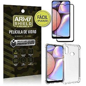 Kit Película 3D Fácil Aplicação Galaxy A10S Película 3D + Capa Anti Impacto - Armyshield