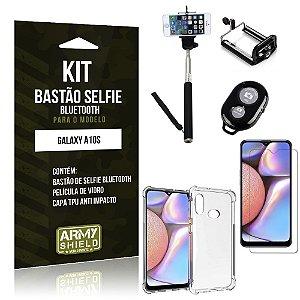 Kit Bastão de Selfie Bluetooth Galaxy A10S Bastão +Capinha Anti Impacto +Película Vidro - Armyshield